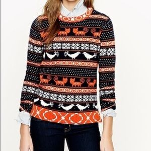 J crew Nordic cat bird farm sweater wool navy  XS